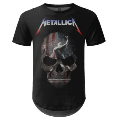Camiseta Masculina Longline Metallica Estampa digital md05
