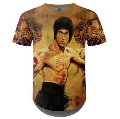 Camiseta Masculina Longline Bruce Lee Estampa Digital md01