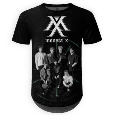 Camiseta Masculina Longline Monsta X Estampa digital md01