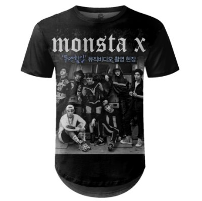 Camiseta Masculina Longline Monsta X Estampa digital md02