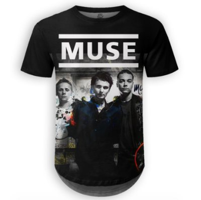 Camiseta Masculina Longline Muse Estampa digital md01