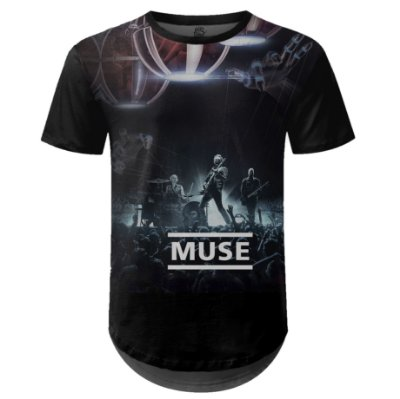 Camiseta Masculina Longline Muse Estampa digital md03