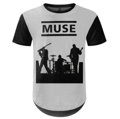 Camiseta Masculina Longline Muse Estampa digital md04