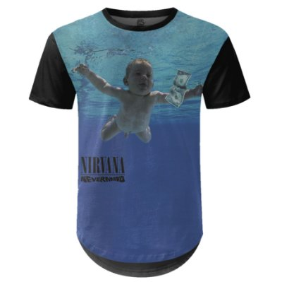 Camiseta Masculina Longline Nirvana Estampa digital md02