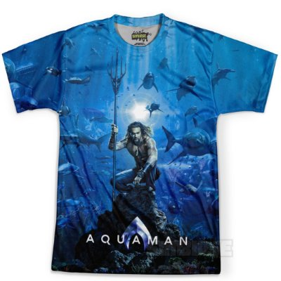 Camiseta Masculina Aquaman MD02 Estampa Digital