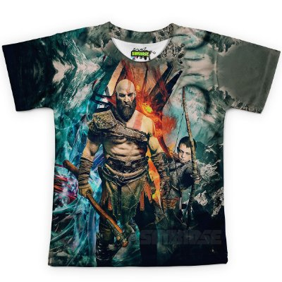 Camiseta Infantil God Of War Estampa Digital Md05