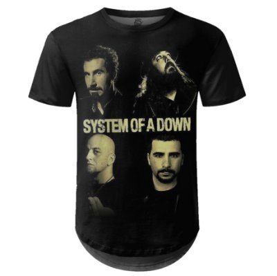 Camiseta Masculina Longline System of a Down md01
