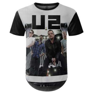 Camiseta Masculina Longline U2 Estampa digital md02