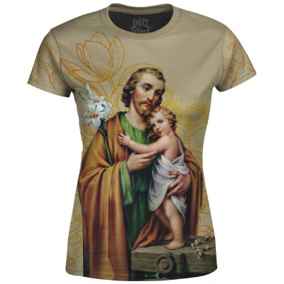 Camiseta Baby Look Feminina São José Floral