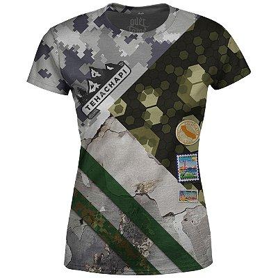 Camiseta Baby Look Feminina Camuflada Mista Md02