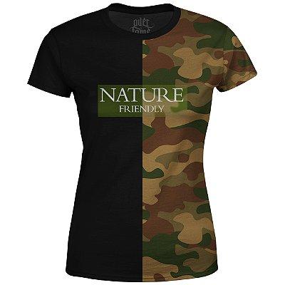 Camiseta Baby Look Feminina Camuflada Nature Md06