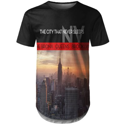 Camiseta Masculina Longline New York NY Md01