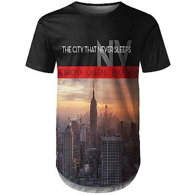 Camiseta Masculina Longline New York NY Md01