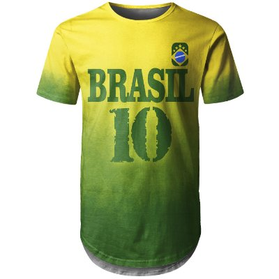 Camiseta Masculina Longline Brasil Md04