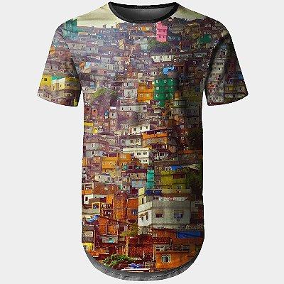 Camiseta Masculina Longline Favela Estampa Digital md01