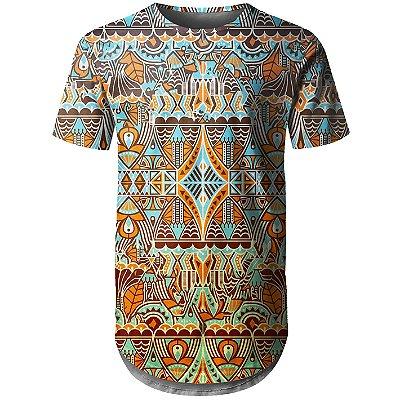 Camiseta Masculina Longline Étnica Tribal Md04