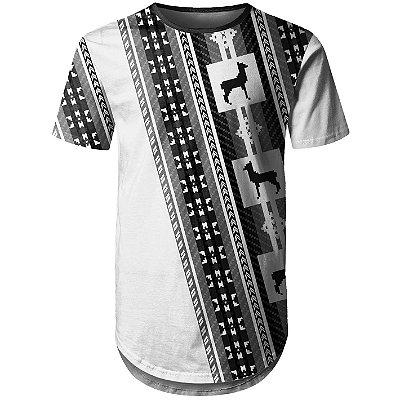 Camiseta Masculina Longline Étnica Tribal Andes Md03