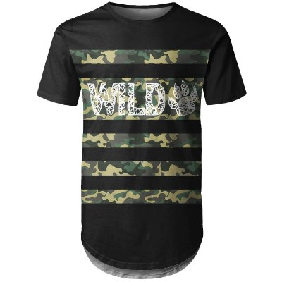 Camiseta Masculina Longline Camuflada Wild Md04