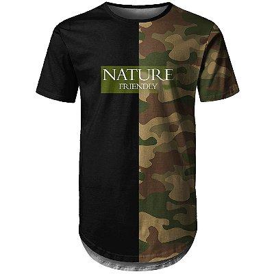 Camiseta Masculina Longline Camuflada Nature Md06