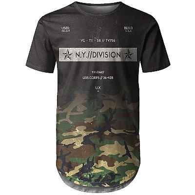 Camiseta Masculina Longline Camuflada Degradê Md03