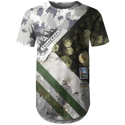 Camiseta Masculina Longline Camuflada Mista Md02