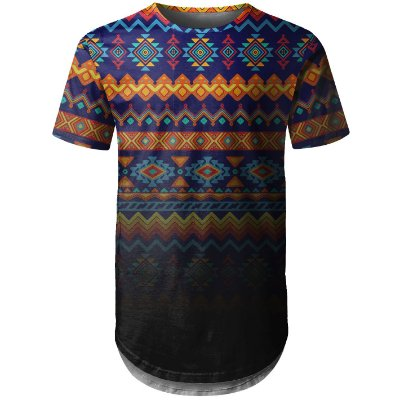 Camiseta Masculina Longline Étnica Tribal Degradê Md02