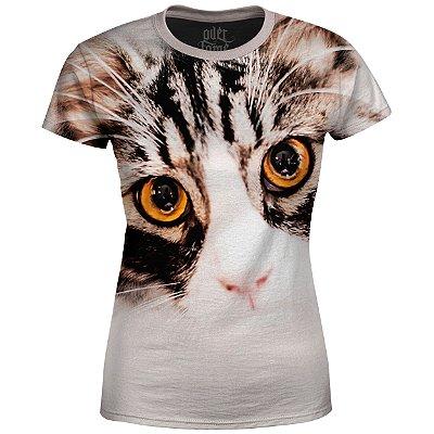 Camiseta Baby Look Feminina Gato Claro md01