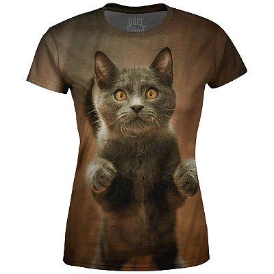 Camiseta Baby Look Feminina Gato  md04