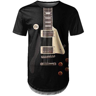 Camiseta Masculina Longline Guitarra Les Paul Md01