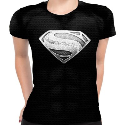 Baby look Feminina Superman Armadura Black Estampa Total - OUTLET