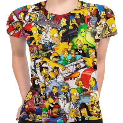 Camiseta Baby Look Feminina Os Simpsons Estampa Digital Md02 - OUTLET