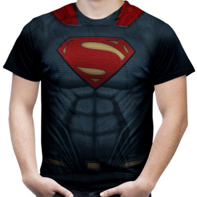 Camiseta Masculina Superman Armadura Estampa Total - OUTLET