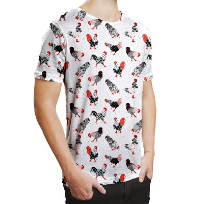 Camiseta Masculina Galos Estampa Digital - OUTLET