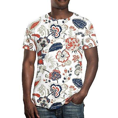 Camiseta Masculina Floral Ilustração Curl Estampa Digital - OUTLET