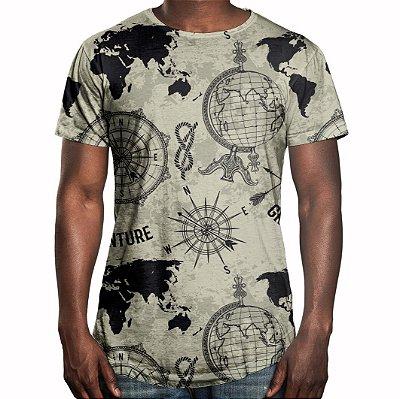 Camiseta Masculina Longline Swag Expansão Marítma Estampa Digital - OUTLET