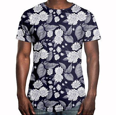 Camiseta Masculina Longline Swag Flor da Ameixa Estampa Digital - OUTLET