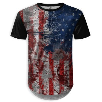 Camiseta Masculina Longline Bandeira EUA md01 - OUTLET