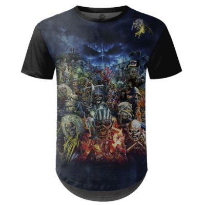 Camiseta Masculina Longline Iron Maiden Estampa digital md01 - OUTLET