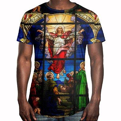 Camiseta Masculina Longline Swag Vitral Jesus Estampa Digital - OUTLET