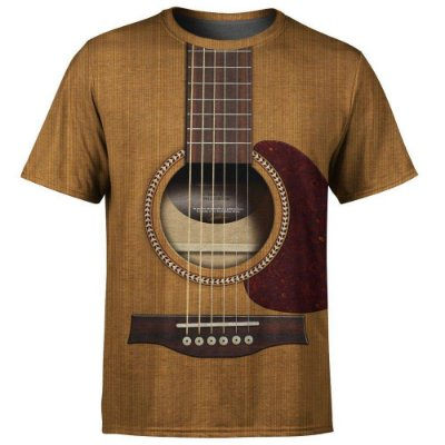 Camiseta Masculina Violão Viola Estampa Digital - OUTLET