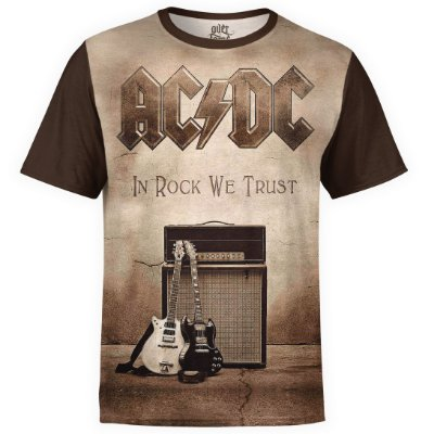 Camiseta masculina AC/DC Estampa Digital AC DC md04 - OUTLET