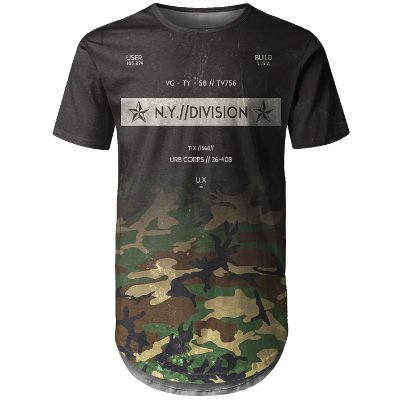 Camiseta Masculina Longline Camuflada Degradê Md03 - OUTLET