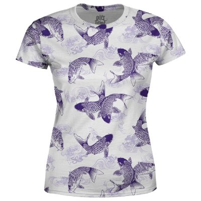 Camiseta Baby Look Feminina Carpas Japonesas Estampa Total - OUTLET