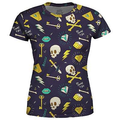Camiseta Baby Look Feminina Hipster Tattoo Estampa Total - OUTLET