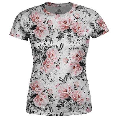 Camiseta Baby Look Feminina Floral e Folhas Estampa Total - OUTLET