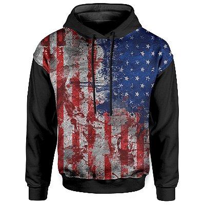 Moletom Com Capuz Unissex Bandeira Estados Unidos EUA - OUTLET