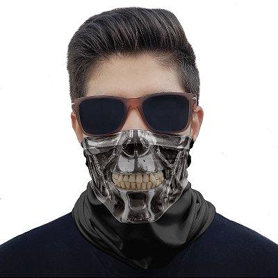 Máscara Bandana Caveira Metal Proteção Ciclismo Pesca