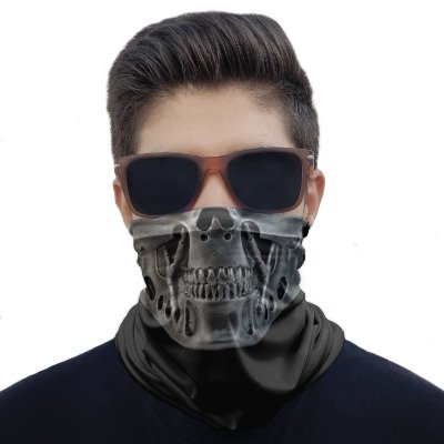 Máscara Bandana Caveira Robô Metal Proteção Ciclismo Moto