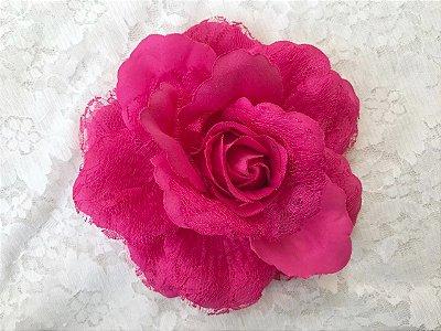 Rosa Grande Pink Renda Sem Arame