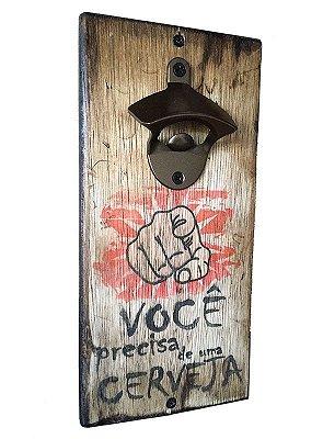 Abridor Magnético Rústico de garrafas para parede - Layout Você PRECISA!